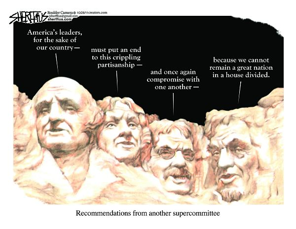 John Sherffius cartoon, 11-1-2011, Mt. Rushmore advice