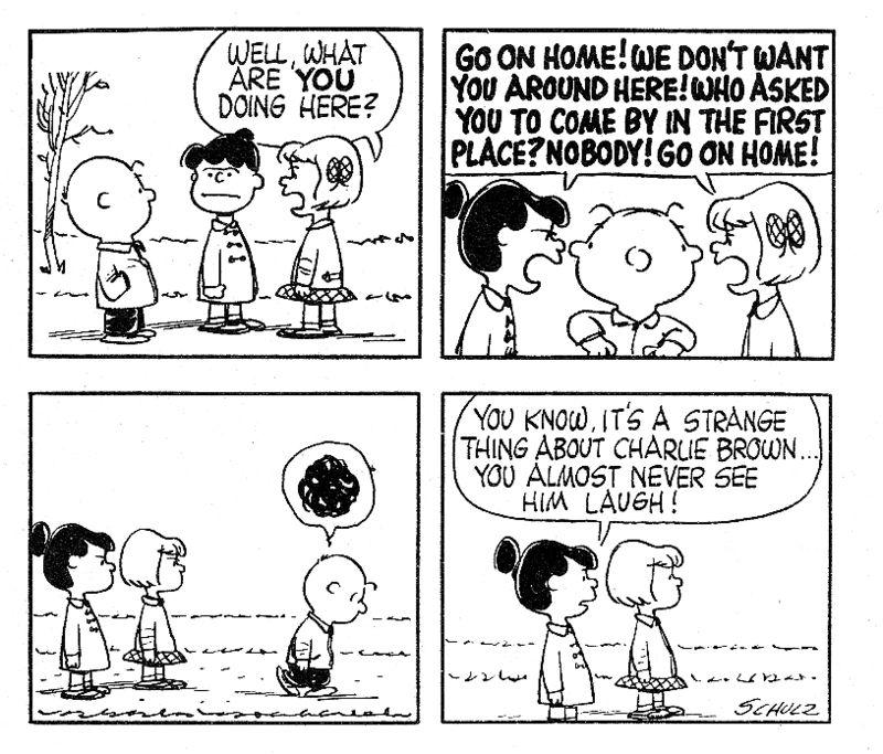 Charlie Brown laughs
