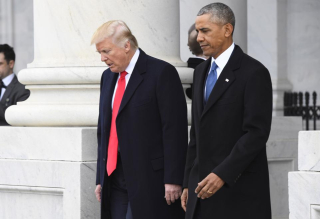 Obama-and-trump-walking